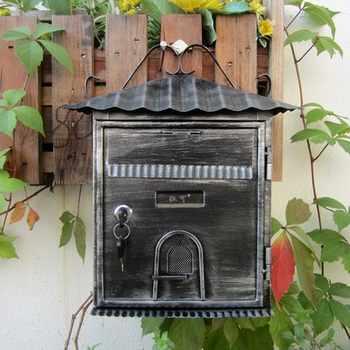 ヴィンテージヴィラメールボックス小さな家デザインポストメール用受領郵便受けホームハンギングデコレーションクリエイティブ Patoral 付 - SALE ITEM ホーム&ガーデン