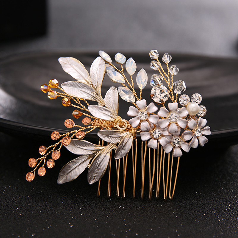 Prix pour Argent feuille de mariée Pinces à Cheveux en cristal de mariage parti casque de cheveux de mariée peigne pour les femmes cheveux accessoires