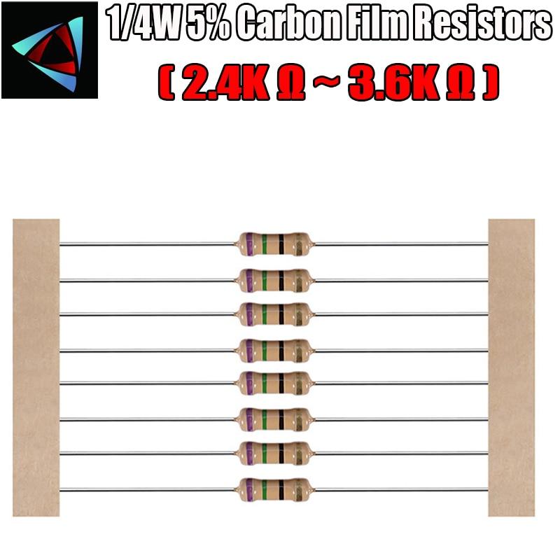 100pcs 1/4W 5% Carbon Film Resistor 2.4K 2.7K 3K 3.3K 3.6K Ohm