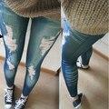 Nuevas Mujeres de La Moda de Primavera Otoño Sau San Hin delgada Desgastado Agujero Roto Impreso Pantalones Vaqueros de Imitación Leggings Jeggings Elástico Pantalones Lápiz