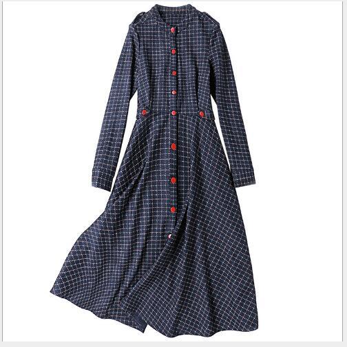 Femme A Manteaux Longues Nouveau Casual Mode Fit Femmes O Blue Manches Automne Navy Plaid 2018 Longue Section cou Slim ligne Robe 4OwvqP8