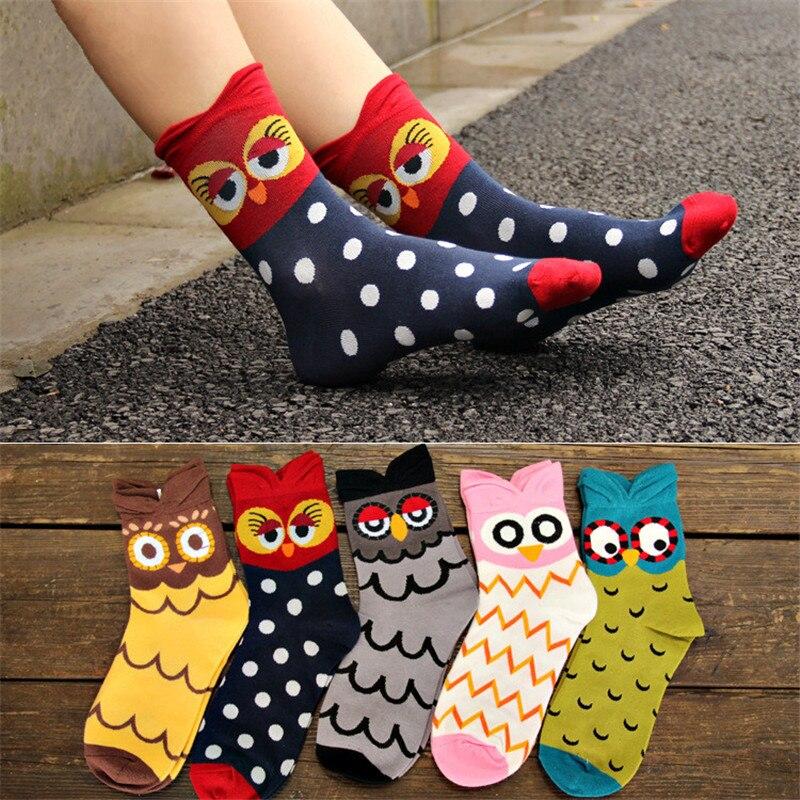 2019 New Brand Women 3D Cartoon   Socks   Girls New Design Funny Owl Cute Cartoon Cotton   Socks   Female Autumn Winter Warm Long   Socks