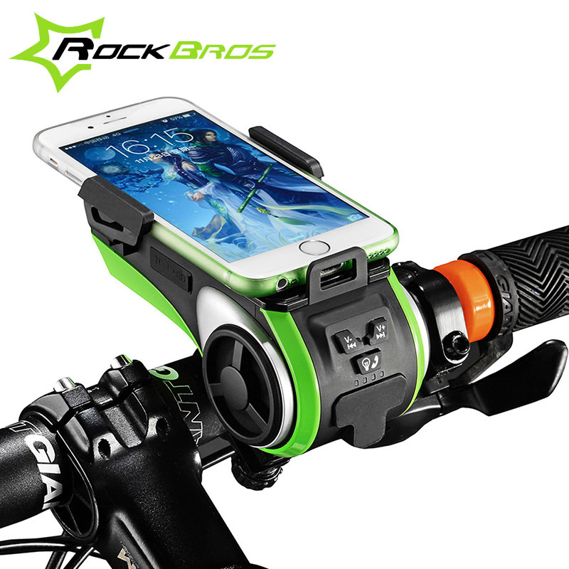 ROCKBROS 5 In 1 Double LED Bicycle Light+Bluetooth Audio MP3 Player Speaker+Charging Power Bank+Ring Bell+Bicycle Phone Holder rockbros multi function bluetooth speaker bicycle light for bike phone holder powerbank cycling ring bell bicycle accessories