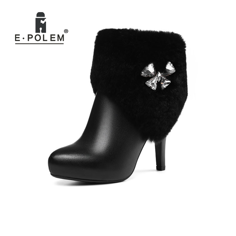 New Women Boots 2018 Fashion Pointed Toe Martin Boots Female Genuine Leather Zip Ankle Boots Women High Heel Short Boots ankle strap martin boots pointed ends genuine leather boots thin heel women ankle boots fashion punk style winter boots