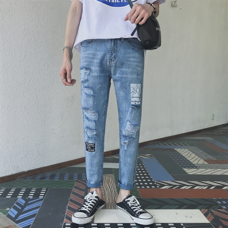 2018 Fashion Casual Ripped Jeans For Men Blue Slim Mid Pencil Denim Youth Pants Leisure Male Solid Color Cowboy Printing Hole