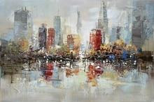 Downtown New York City Handmade Oil Painting On Canvas Urban Skyline Pictures For Wall Art Decoration In Livingroom недорго, оригинальная цена
