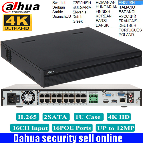 Original DaHua mutil language 16PoE 4K Network Video Recorder NVR5216-16P-4KS2 DH-NVR5232-16P-4KS2 H.265 NVR support upgrade