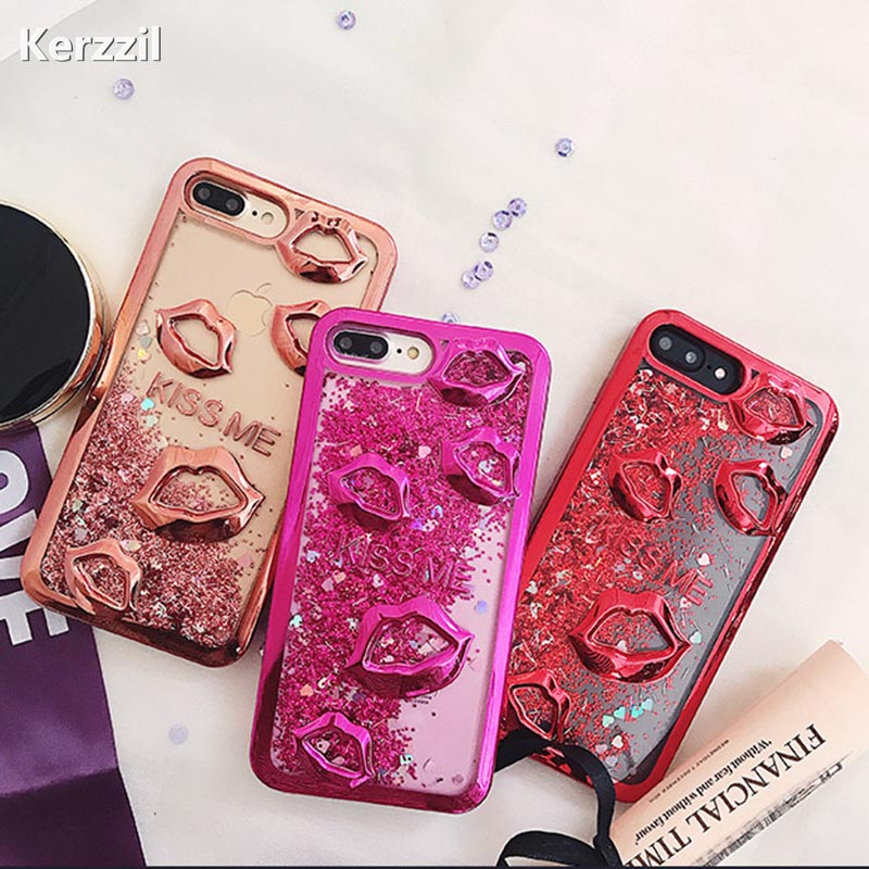 Kerzzil 3D <font><b>Sexy</b></font> Kiss me Red Lips Phone <font><b>Cases</b></font> For <font><b>iPhone</b></font> <font><b>7</b></font> 8 Plus Luxury Plating <font><b>Case</b></font> for <font><b>iPhone</b></font> X 6 6s <font><b>7</b></font> Plus Soft Back Cover image