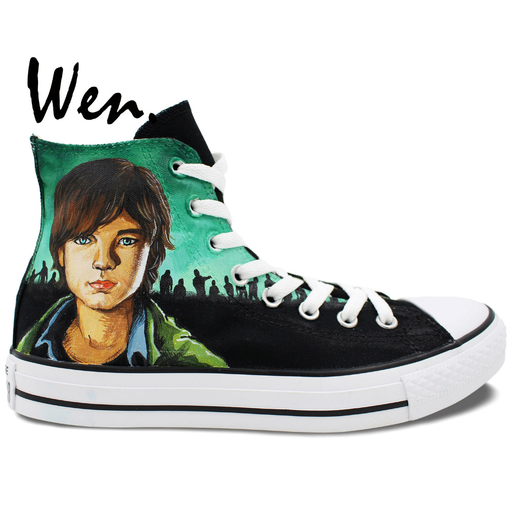 Walking dead converse shoes for sale - Wen Design Custom Hand Painted Sneakers Walking Dead Men Women S High Top Canvas Shoes For Christmas