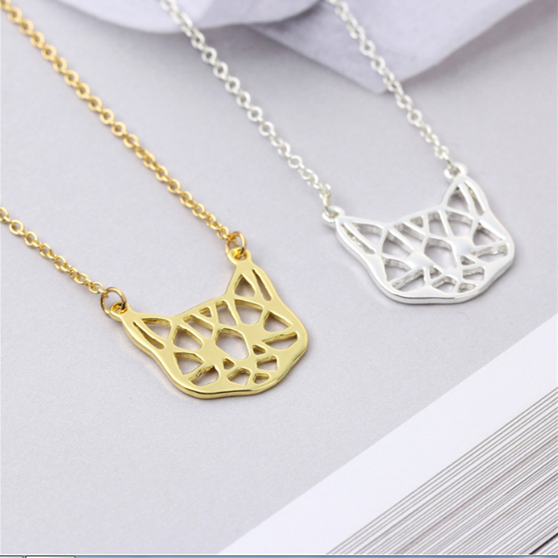 Everfast 1pc Origami Cat Head Pendant Collar Necklaces Cute Little Hollow Cats Animal Lovers Jewelry Accessories Anime