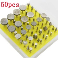 50PCS One Set Diamond Sanding Needles Coated Rotary Small Head Grinding Rod Jewelry Tools Alloy Rotary