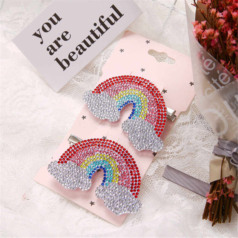 5set/lot Sweet Princess Delicate Rainbow Colored Rhinestone Hair Clip Faux Crystal Rainbow Duckbill Hair Clip Hair Accessories
