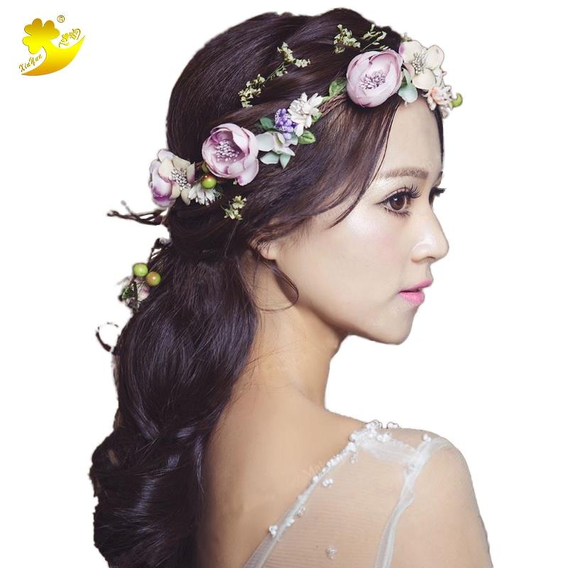 XinYun bloem hoofdband haarmode bruids haar ornament stof bloem kroon - Kledingaccessoires