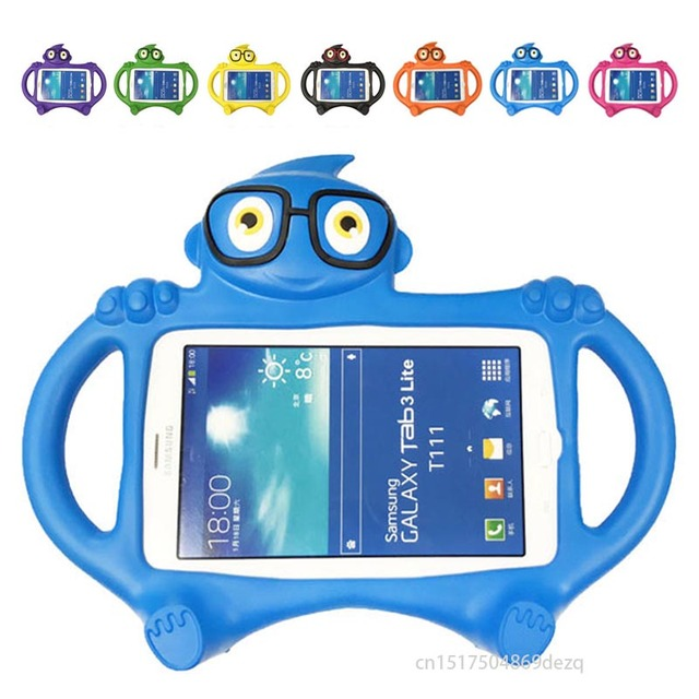 outlet store cb0a3 04e13 US $12.55 20% OFF|kids Case For Samsung Galaxy Tab 3 t211 T210 Lite SM T110  T113 Tab 4 7.0 SM T235 T230 Cute Cartoon Silicone EVA Desk Stand Cover-in  ...