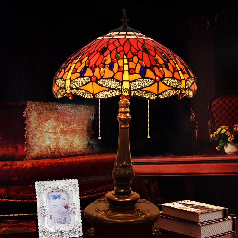 18 inch color glass Retro Living room bedroom Bedside lamp Hotel bar club Red Dragonfly Decorative Zipper lamps 110-240V 3xE27