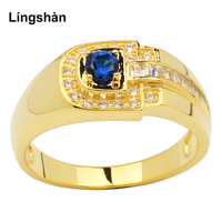 Real 925 Silver Ring Men Sterling Gold Color Jewelry Cubic Zirconia CZ Size 9 to 13 Heavy Feel Finger Decoration R114N