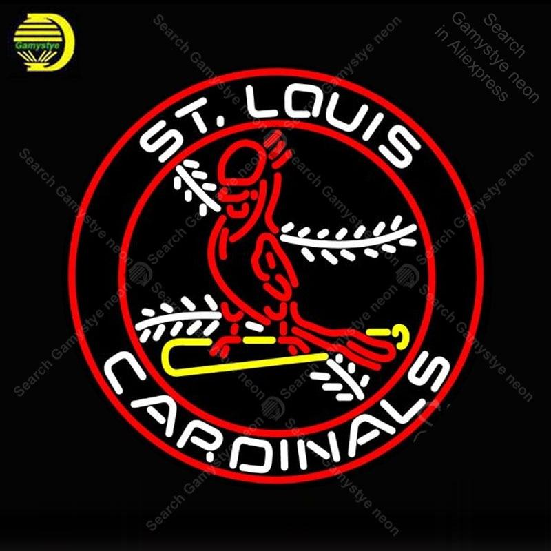 NEON SIGN For St Louis Cardinals Bird NEON Lamp GLASS Tube Decor Ball Circle Windows Handcraft Sport anuncio luminoso Dropship