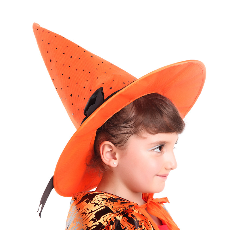 Children Witch Hats Masquerade Ribbon Pointed Elbow Wizard Hats Kids Cosplay Halloween Party Decor Costume Party Caps 4 Colors