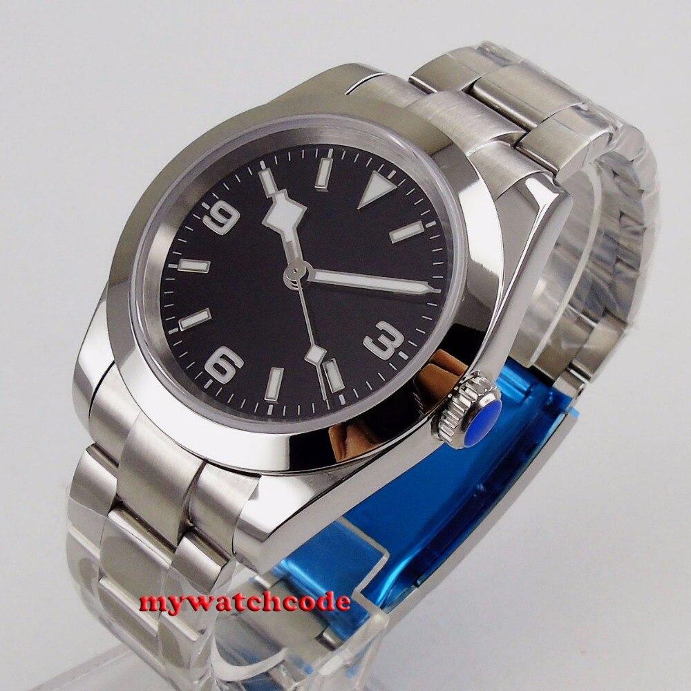 40 мм bliger стерильный черный циферблат Снежный хлопья ручной стальной твердый чехол сапфировое стекло автоматические мужские часы B201