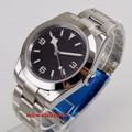 40mm bliger estéril dial negro nieve mano de acero sólido caso de cristal de zafiro automático reloj B201