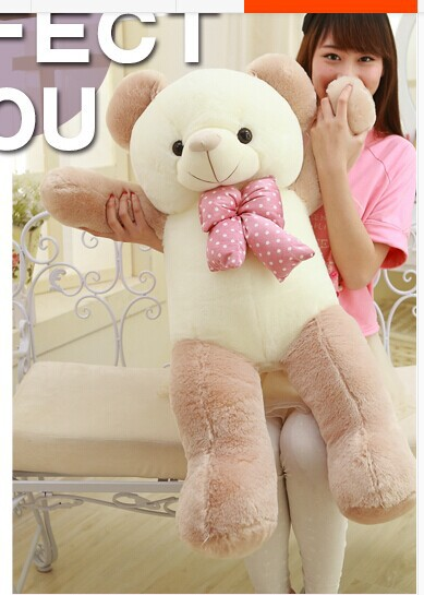 lovely new plush Teddy bear toy stuffed light brown teddy bear with bow birthday gift about 120cm big lovely pink teddy bear doll candy colours teddy bear with spots bow plush toy doll birthday gift about 120cm