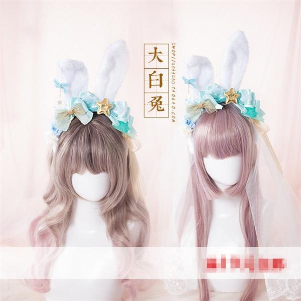 LOLITA Headband Hair Accessories Rabbit Ear KC Mint Green Pentagram with Veil Or Hair Clip Manual DIY Color change