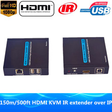 HDMI KVM Extender 500ft Over TCP IP 1080P HDMI USB Keyboard Mouse Extender Through Ethernet Community Cat5e/6 Cable With IR & Loop Out