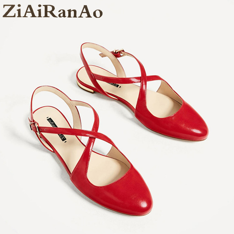 Summer Casual Shoes Woman Red Cross Straps Women Flats Shoes Round Toe Shallow Women Sandals Fashion Slingbacks Women's Shoes women flats casual shoes 2017 summer sandals pointed toe fashion shallow rivet flower flat shoes woman loafers cool comfortable