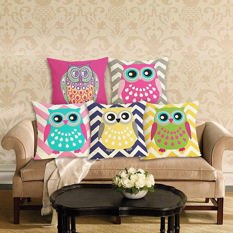 家の装飾フクロウプリントクッションカバーリネン枕カバー装飾スロー枕カバー用ソファ45×45センチソファクッションケース