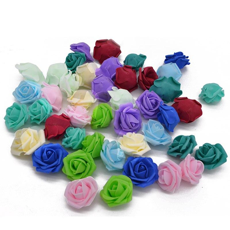 20 шт./лот 4 см ПЭ пена роза искусственные головки цветов ручной работы букет для свадебной вечеринки украшения DIY ВЕНОК поставки поддельные ц...