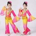 Chinese meninas Executar Tambor Trajes Cor Gradiente Crianças Fã Yangko Roupas Performance de Palco Trajes de Dança Clássica