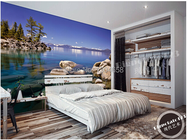 Custom photo wallpaper, distant snow-capped mountains forest reefs lakes wallpaper, the sitting room the bedroom TV wall  murals custom baby wallpaper snow white and the seven dwarfs bedroom for the children s room mural backdrop stereoscopic 3d