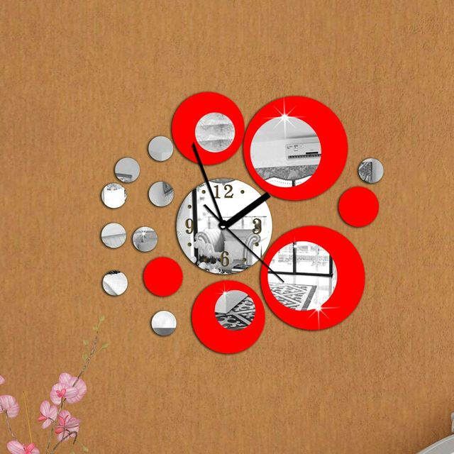 2018 new 3d diy mirror wall clocks europe home decor digital silver & red clock modern living room watches free shipping