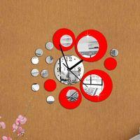 2018 nova 3d diy espelho relógios de parede europa decoração da sua casa relógio digital de prata & vermelho moderna sala de estar relógios livre grátis