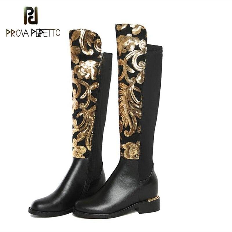 Prova perfetto Sapatos De Luxo Design Mulheres Que Bling de Lantejoulas de Ouro Estiramento Partido Outono Inverno Botas Na Altura Do Joelho Botas De Cano Alto de Couro Genuíno