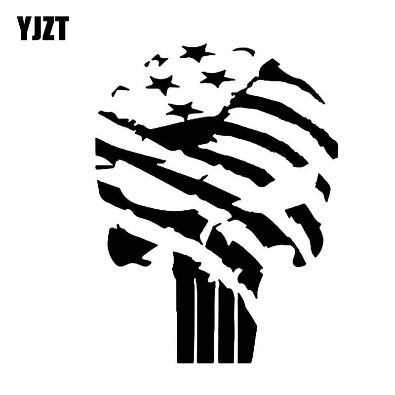 Yjzt 9 9cm 13cm Punisher Skull American Flag Car Sticker