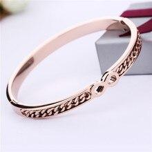 Titanium del acero inoxidable de la pulsera de los brazaletes mujeres de moda oro rosa pvd chapado en oro infinito diseño partido de la manera caliente de la joyería regalos
