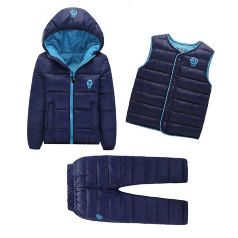 2019 Winter Jackets Kids Snowsuits Autumn Down Coats Baby Girls Boys Clothes Set Toddler Vest Children Outerwear Pant Jacket 3PC