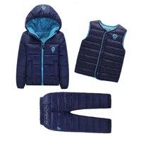 Kids Snowsuits Autumn Winter Down Cotton Coats Jackets Pant Baby Girls Boys Clothes Set Toddler Vest Children Outerwear 3PCS
