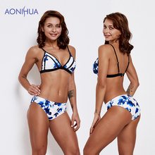 AONIHUA Floral Swimwear Bandage riangle Bikini Set 2019 Female Beach Wear Bathing Suits Swimming Suit Padded Bra