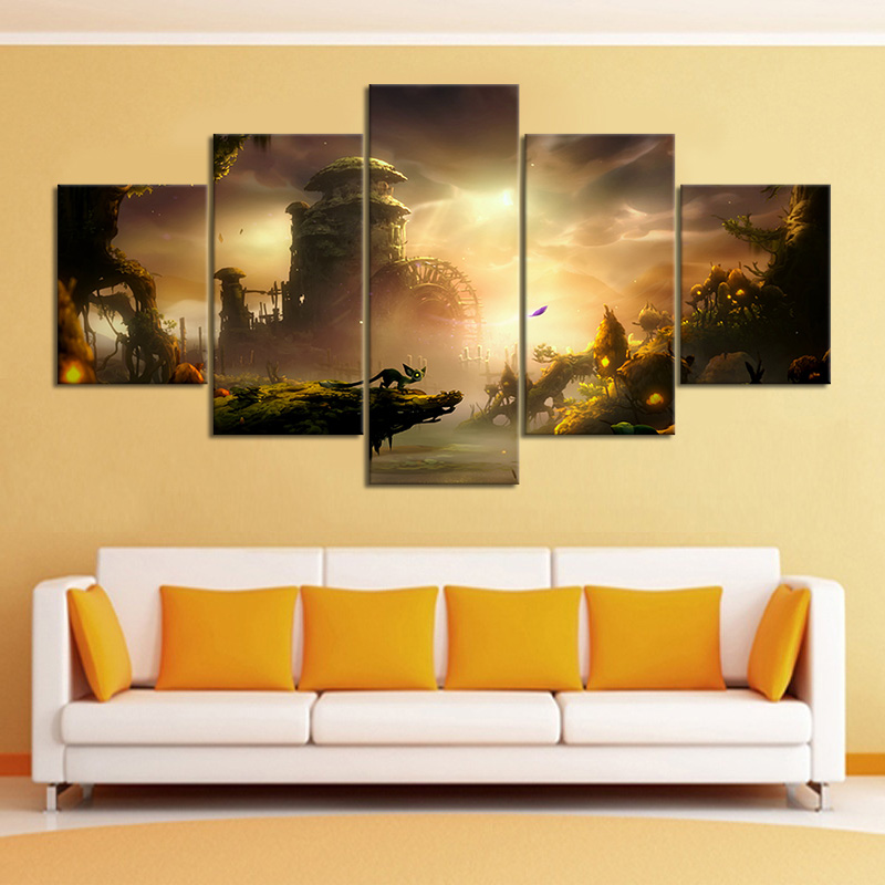 5 Piece Ori and The Will of The Wisps PC Game Poster Video Game Accessories Wall Art Picture Home Decor Wall Sticker Nice Gift