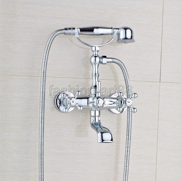 Antique Brass Bath Shower Set Mixer Taps Wall Mounted Dual Handle Rotate Tub