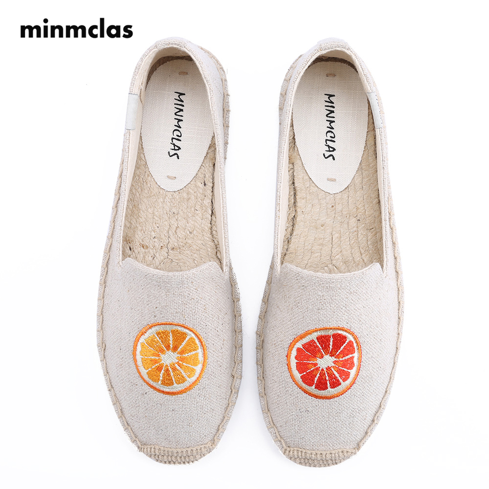 MInmclas Summer Alpargatas Orange Comfortable Slip-on Womens Casual Espadrilles Breathable Flax Hemp Canvas for Girl Shoes