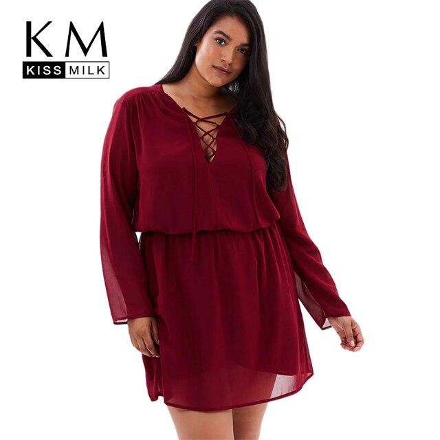 Kissmilk Women Plus Size Criss Cross Front V Neck Pleated Mini Dress ...
