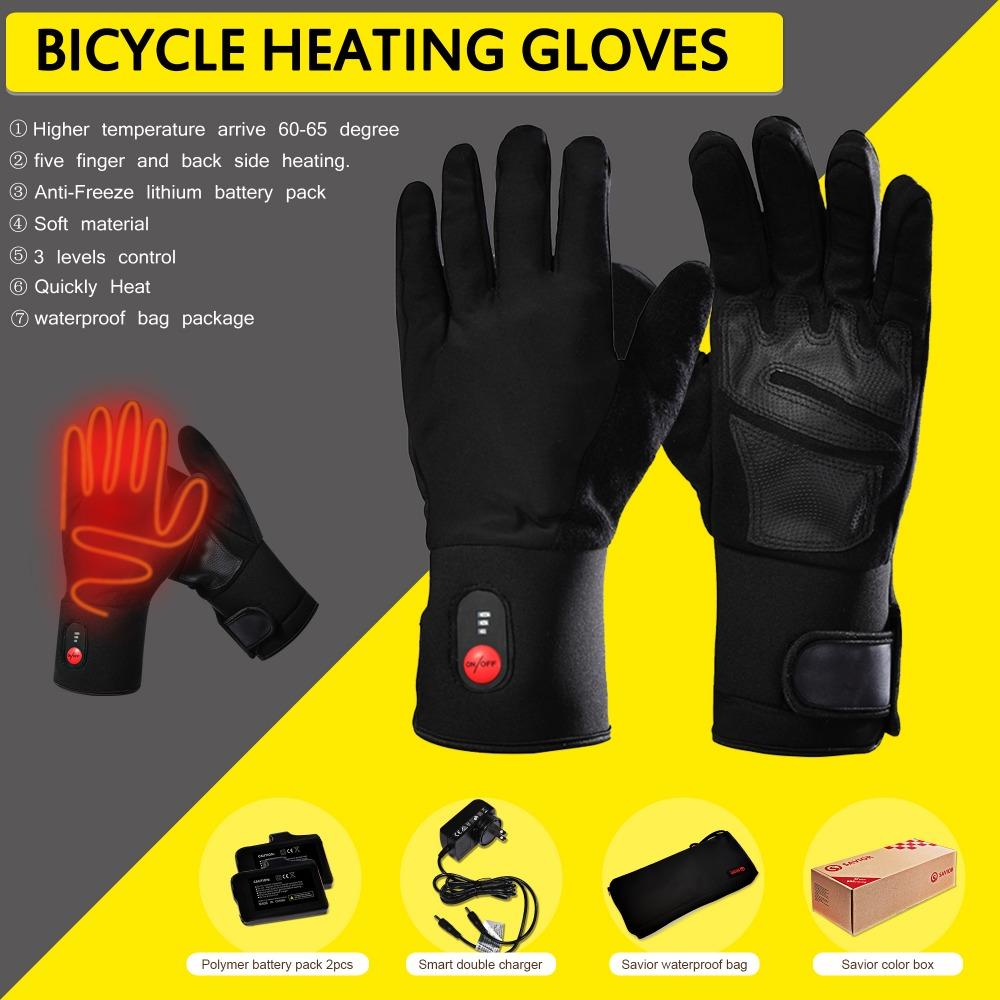 Savior Winter 7.4V Rechargeable Battery Heated Thin Gloves  Electric Thermal for Bicycling Motorcycling Skiing Fishing Walking
