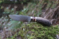 2016 Hot Outdoor Knife Pure Manual Damascus Knife Pattern Steel Knife Gift Collection Real Horn Handle