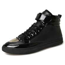 Высокое Качество Мужчин Повседневная Обувь Высокий Верх Толщиной Подошве Блесток Плоские Туфли Тренеры Черный Кожа Pu Обычная Обувь Chaussure XK102402