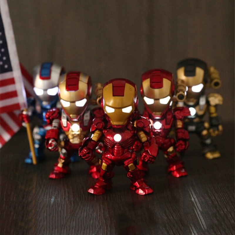 The Avengers Q Version Iron Man Action Figure Collection Toys SuperHero LED Flash Light Dolls 15cm PVC Chritmas Gift Toys HZW036