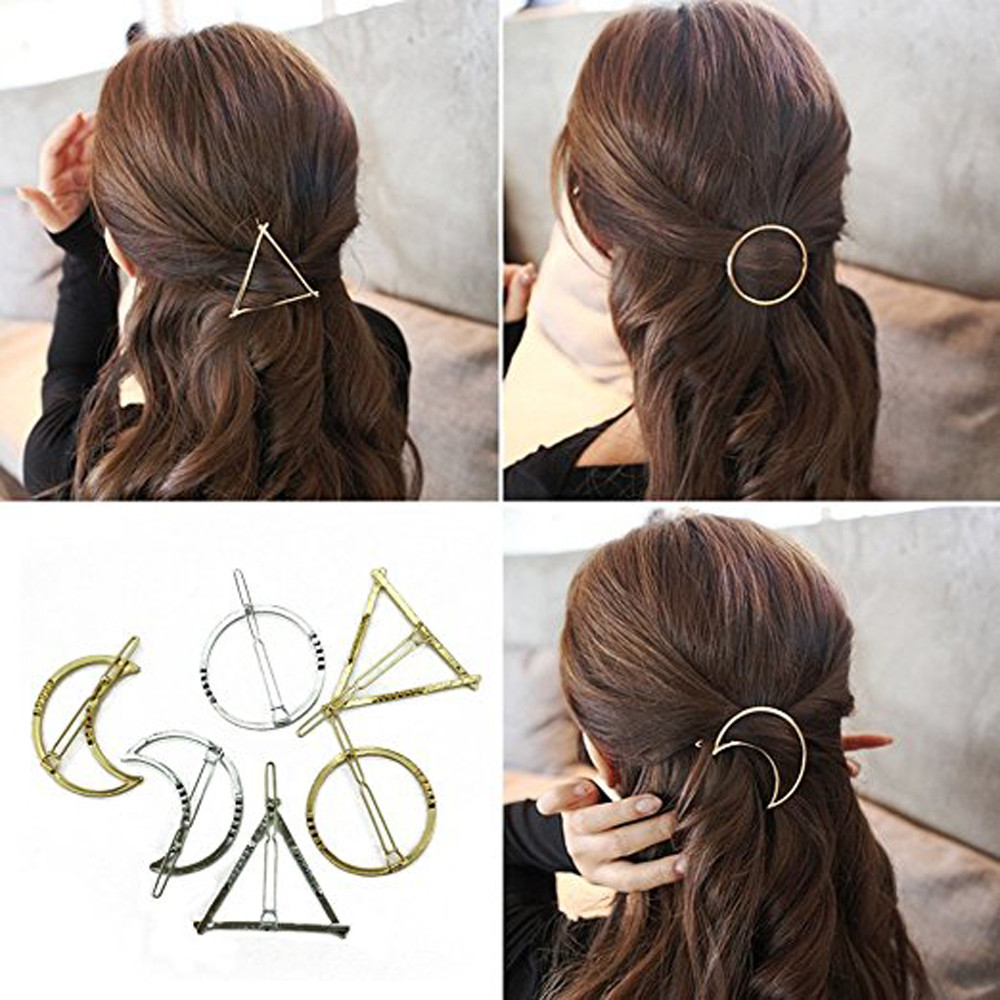 6PCS Geometric Shape Hair Clip Fashion Women Lady Girl Punk Hollow Out Moon Triangle Circle Barrettes Hairpin Clamps Gold #A