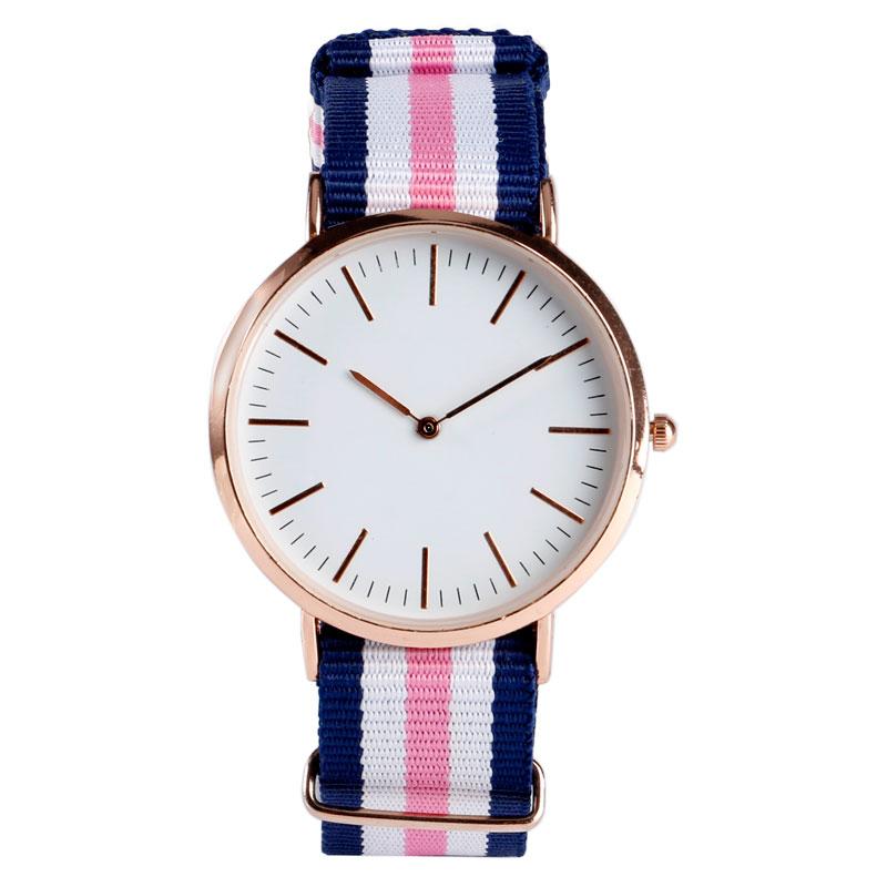 2017 New Sport Korea Style Simple Fashion Minimalist Wrist Quartz Watch Blue Pink Stripe Nylon Band Strap Women Bracelet Clock survival nylon bracelet brown
